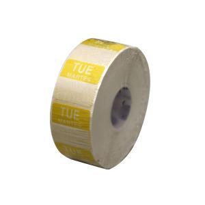 水溶性 デイドットシール TUE(火曜) 黄 2.5x2.5cm 1000枚x1巻き|duni