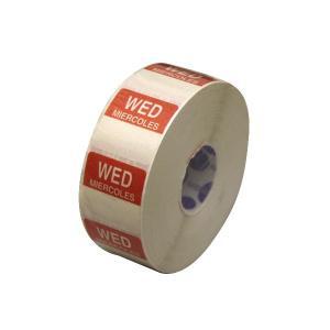 水溶性 デイドットシール WED(水曜) 赤 2.5x2.5cm 1000枚x1巻き|duni