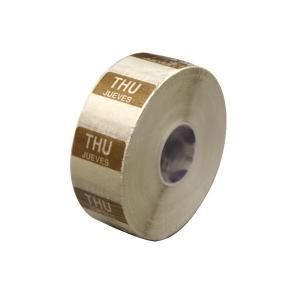 水溶性 デイドットシール THU(木曜) 茶 2.5x2.5cm 1000枚x1巻き|duni