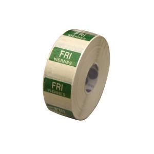 水溶性 デイドットシール FRI(金曜) 緑 2.5x2.5cm 1000枚x1巻き|duni