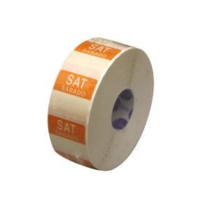 水溶性 デイドットシール SAT(土曜) 橙 2.5x2.5cm 1000枚x1巻き|duni