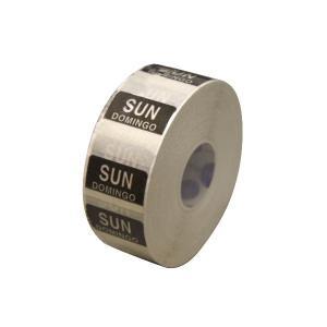 水溶性 デイドットシール SUN(日曜) 黒 2.5x2.5cm 1000枚x1巻き|duni