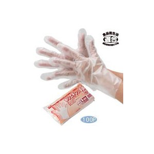 【在庫限り】 ポリエチレン手袋 外エンボス加工 クリア Mサイズ 100枚入り|duni