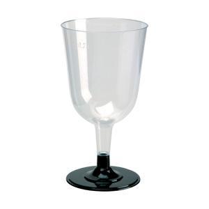 プラスチック製組立式ワイングラス(ブラック)  高さ13.7x幅7.5cm  240cc 12個入|duni