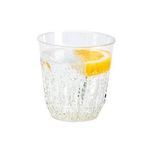 プラスチック製タンブラーグラス クリアー 高さ8.0 幅7.8cm 0.2Lの目盛付き 250cc 30個入り|duni