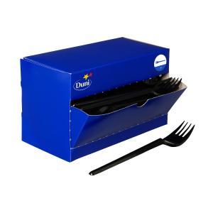 ディスペンサーボックス付き プラスチック フォーク ブラック 180mm 150本入り|duni