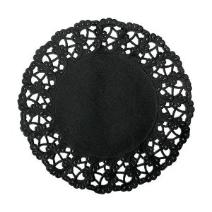 【在庫限り】 レースペーパー ラウンド (ブラック) 250枚入 19cm|duni