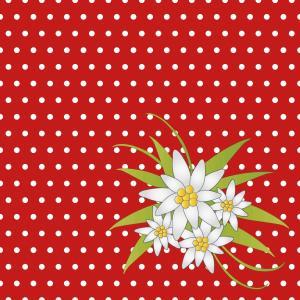 デザインナプキン 3PLY 4面折 (エーデルワイスレッド) 33x33cm 20枚入り|duni