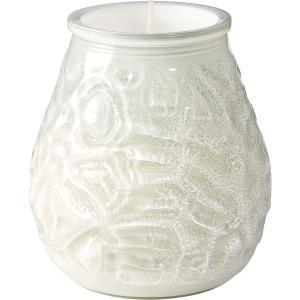 【在庫限り】 グラスキャンドル ベネチア ホワイト 70時間燃焼タイプ 10x10.4cm  1個入り|duni