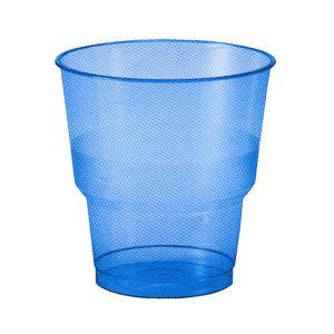 【在庫限り】 プラスチックカップ ブルー 高さ8x幅7.8cm   250cc 0.2Lの目盛付き 10個入|duni