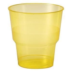 【在庫限り】 プラスチックカップ BBQイエロー 高さ8x幅7.8cm 250cc 0.2Lの目盛付き 10個入|duni