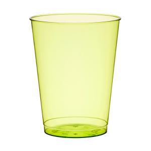 プラスチック製タンブラーグラス グリーン 高さ9cm 口径7cm 225cc 10個入り|duni