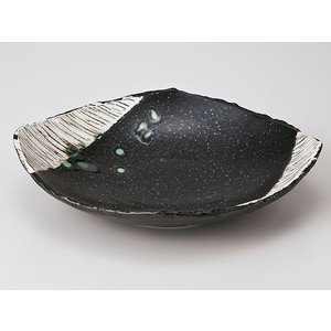 和食器 向こう付け/ 黒織部角櫛目型5.5平鉢 /業務用 懐石料理 会席 向付|duralex