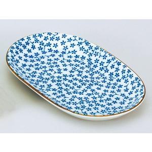 和食器 焼物皿/ 藍染紋様 小花楕円皿 /焼き物皿 ステーキ皿 焼き魚 焼き鳥 串カツ 業務用 家庭...