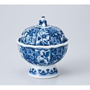 和食器 蓋物/ 唐人染付小花蓋物 /陶器 煮物 料亭 割烹 碗 業務用|duralex