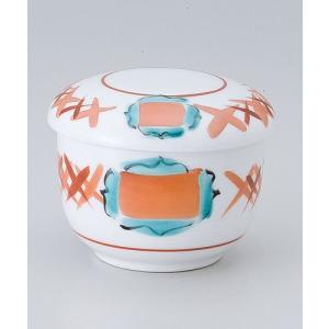 茶碗蒸し 陶器/ 赤絵連鎖むし碗 /蒸し碗 ちゃわんむし碗 業務用|duralex