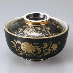 和食器 蓋物/ 黒金唐草円菓子碗 /陶器 煮物 料亭 割烹 碗 業務用 duralex