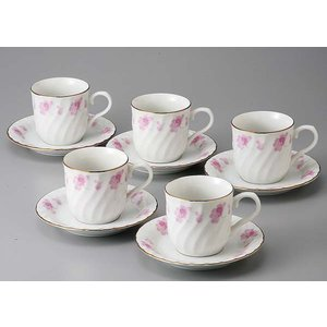 ギフト 贈り物 内祝 結婚祝 ピンク花つなぎ5客コーヒーセット|duralex