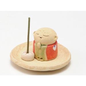 地蔵 置物 お香立て/ 赤 お地蔵様 香皿 1.3寸 /陶器 プレゼント 贈り物 箱入り duralex