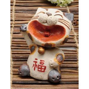 置物 陶器/ 大笑い招き猫 置物(白)(小) /プレゼント 贈り物 祝い duralex