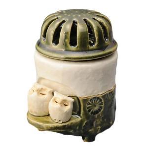 陶器 手造り 香炉 香立て/ 織部印花 香炉(中)(フクロウ) /置物 インテリア プレゼント 贈り物|duralex