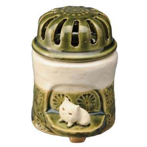 陶器 手造り 香炉 香立て/ 織部印花 香炉(中)(ネコ) /置物 インテリア プレゼント 贈り物|duralex