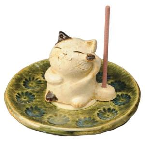 陶器 手造り 香皿 香立て/ 織部印花 香皿(招き猫) /置物 インテリア プレゼント 贈り物|duralex