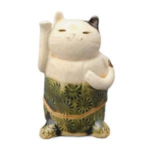 陶器 手造り 香炉 香立て/ 織部印花 招き猫 香炉 /置物 インテリア プレゼント 贈り物|duralex