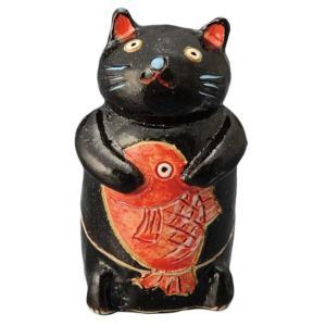 陶器 手造り 香炉 香立て/ 鯛持ち黒猫 香炉(小) /置物 インテリア プレゼント 贈り物|duralex