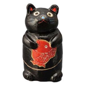 陶器 手造り 香炉 香立て/ 鯛持ち黒猫 香炉(中) /置物 インテリア プレゼント 贈り物|duralex