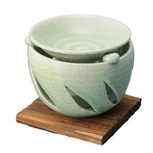 手造り 茶香炉/ 茶香炉(緑釉) /アロマ 癒やし リラックス インテリア 間接照明 duralex