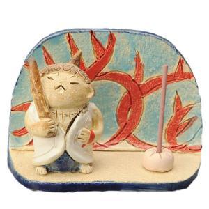 陶器 手造り 香皿 香立て/ お不動様 衝立て 香皿(白) /置物 インテリア プレゼント 贈り物|duralex