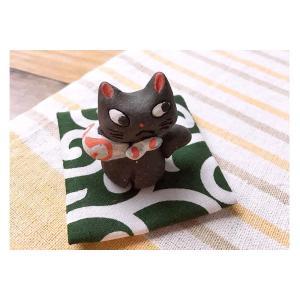 人形師の手造り品 濱田ひろこ 手造箸置き 座布団付き どろぼう猫