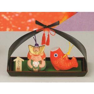 五月人形 コンパクト 陶器 小さい 大将 武将/ 土鈴五月人形(利休籠付) /こどもの日 端午の節句 初夏 お祝い 贈り物 プレゼントの画像
