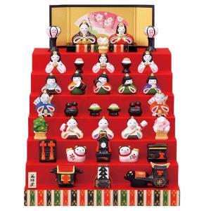 雛人形 コンパクト 陶器 小さい 可愛い ひな人形/ 錦彩花かざり雛(七段飾り) /ミニチュア 初節句 お雛様 おひな様 雛飾り