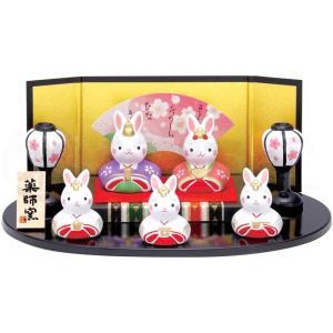 雛人形 コンパクト 陶器 小さい 可愛い ひな人形/ 錦彩うさぎ平飾り雛 /ミニチュア 初節句 お雛様 おひな様 雛飾り|duralex