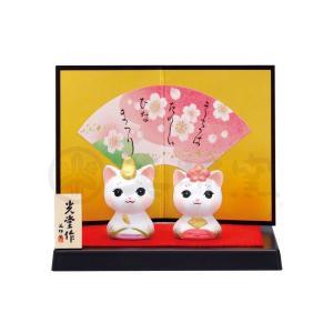雛人形 コンパクト 陶器 小さい 可愛い ひな人形/ 錦彩こねこ雛 /ミニチュア 初節句 お雛様 おひな様 雛飾り|duralex