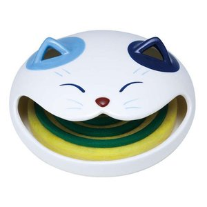 蚊取り線香入れ おしゃれ 陶器 蚊取り線香ホルダー アウトドア/ 福笑い猫蚊遣器 /キャンプ 屋外 duralex