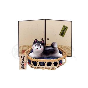 陶器 置物 柴犬/ わんこ日和黒柴(竹籠付) /夏のインテリア 可愛い コンパクト|duralex
