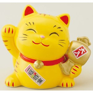 幸せ招き猫宝くじ入れ 中 とら(貯金箱)
