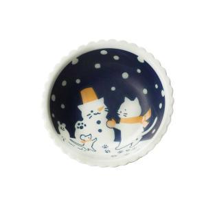 取り分け鉢 デザートボウル/ ねこと雪遊び13.9cm 小鉢 /洋食器 猫好き 飾り皿にも 贈り物 ポイント消化 duralex