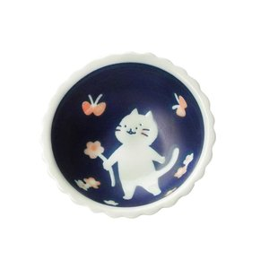 たれ・ソース用 ナッツボウル/ ねこと花と蝶9.5cm 小鉢 /洋食器 猫好き 飾り皿にも 贈り物 ポイント消化 duralex
