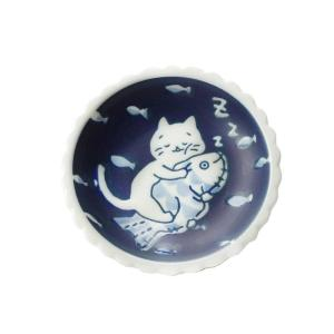 タレ皿 醤油皿 お新香用/ ねこと魚でおやすみ10.5cm 小皿 /洋食器 猫好き 飾り皿にも 贈り物 ポイント消化 duralex