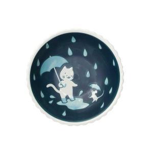 サラダボウル 一品副菜用/ ねこと雨の日16cm 小鉢 /洋食器 猫好き 飾り皿にも 贈り物 duralex