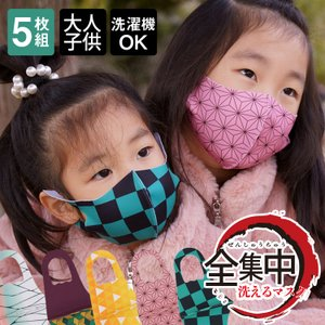 全集中 マスク 5枚入 洗える マスク 子供用 大人用 和柄 鬼滅の刃風/メール便無料