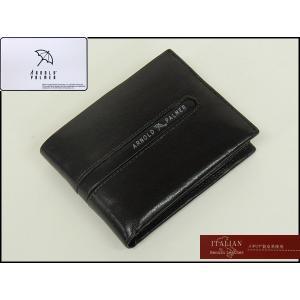 〓ARNOLD PALMER〓アーノルドパーマー◆牛革◆二つ折り財布/コインケース付◇黒◇イタリアンレザー使用 4AP3073|dxksm466