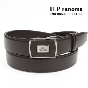 U.P renoma メンズベルト 牛革 チョコ茶 レノマ 巾29mm ビジネスベルト フィットバックル 日本製 51R162-21|dxksm466