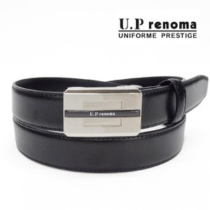 U.P renoma メンズベルト 牛革 黒 レノマ 巾29mm ビジネスベルト フィットバックル 51R514-10|dxksm466