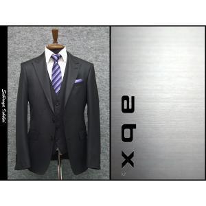 abx スリーピーススーツ ピーク衿 通年物 黒ドット スタイリッシュ 2ボタン dxksm466