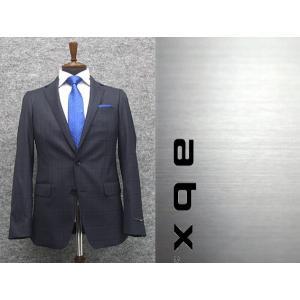 abx 秋冬物 super110s 藍紺/チェック スタイリッシュ2釦スーツ [Y体][A体] 1タックパンツ メンズトレンドスーツ abx7343-88|dxksm466